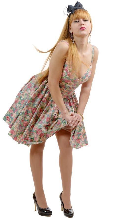 Download Belle Fille De Pin-up Avec Une Robe Colorée Photo stock - Image du dame, beauté: 77161076