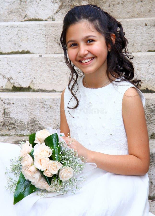 Belle fille de première communion images libres de droits