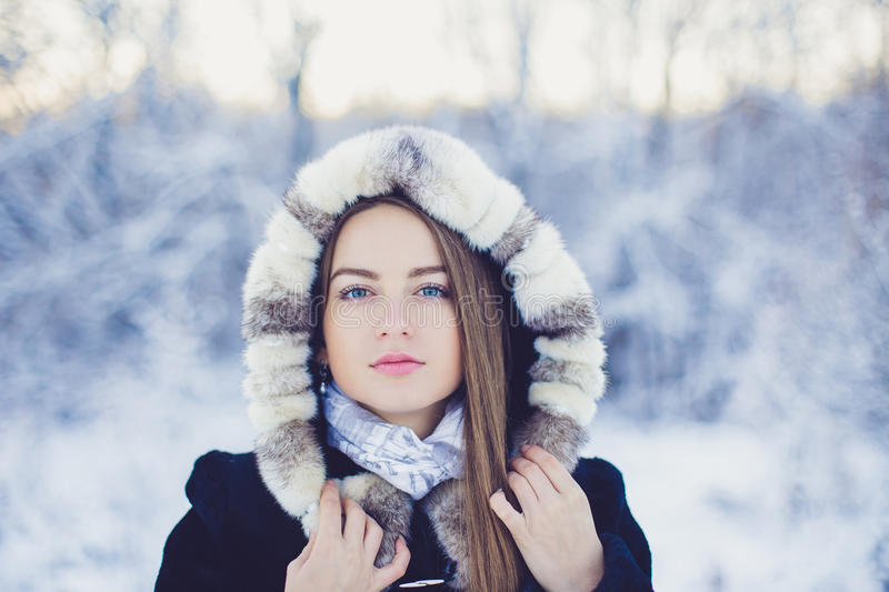 Belle fille en hiver photos stock