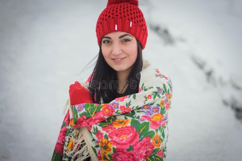 Belle fille en hiver photos libres de droits