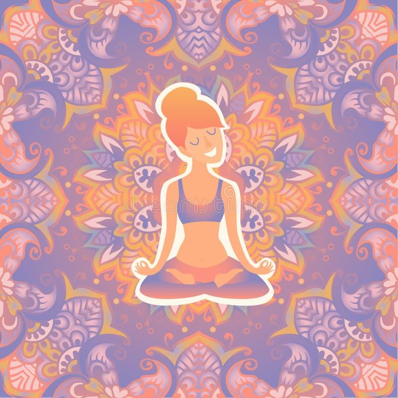 Belle fille en position de lotus sur le tapis pour le yoga Dirigez l'illustration de couleur en pastel sur le fond de mandala illustration libre de droits