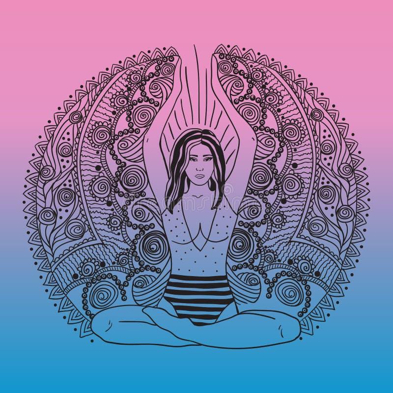 Belle fille en position de lotus sur le tapis pour le yoga Illustration colorée de vecteur sur le fond de mandala Le concep de co illustration stock
