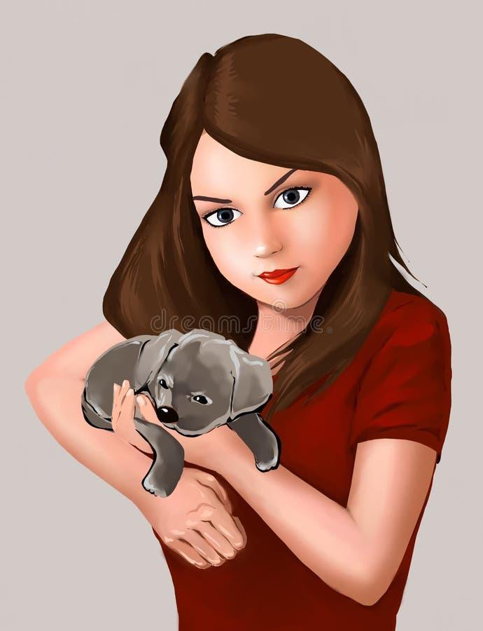 belle fille et chienchien mignon de chiot, chien, animal, propriétaire d'animal familier, belle fille, mignonne, chiot, amis mign illustration libre de droits