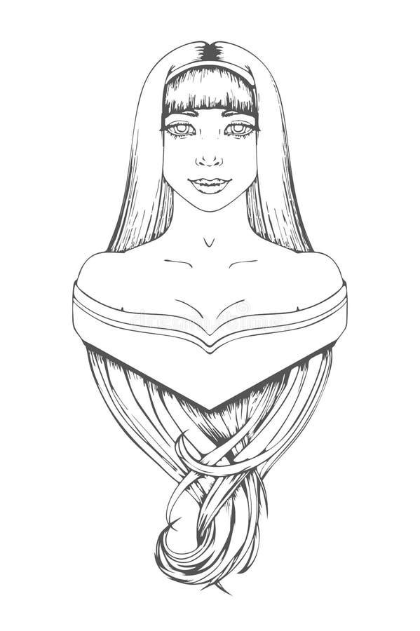 Belle Fille Et Longs Cheveux Dessin Noir Et Blanc à La Main