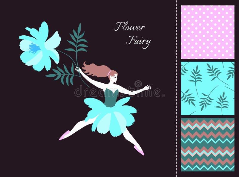 Belle fille féerique avec la fleur bleue Carte et ensemble de modèles sans couture dans des couleurs d'été illustration stock