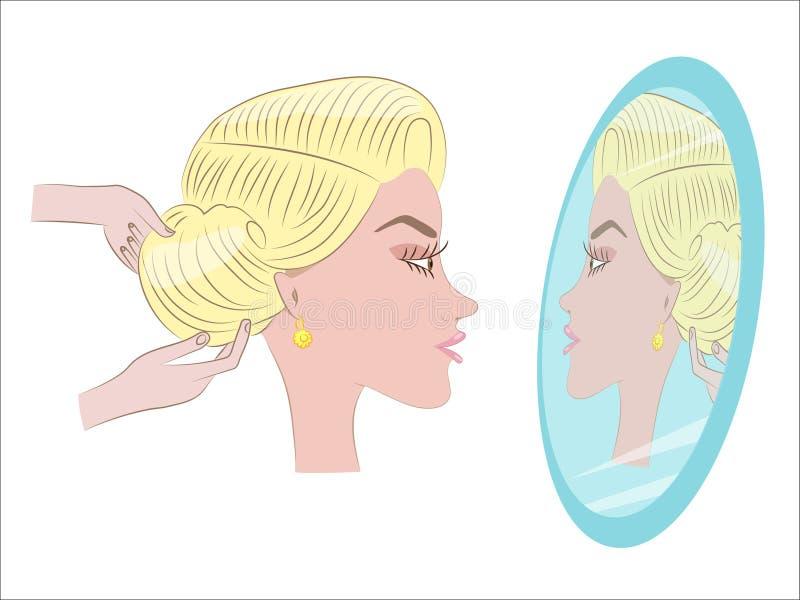 Belle fille faisant la coiffure illustration stock