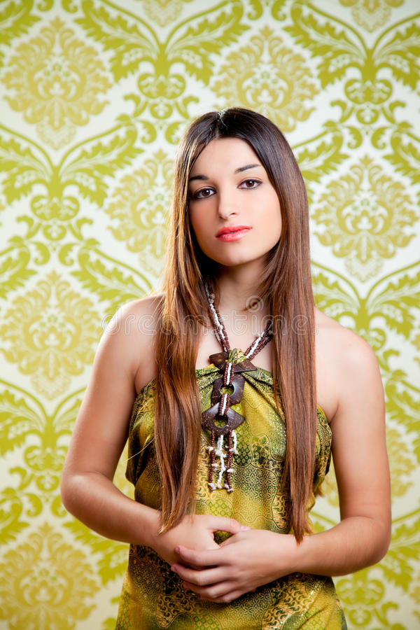 Belle fille indienne asiatique avec le long cheveu image stock