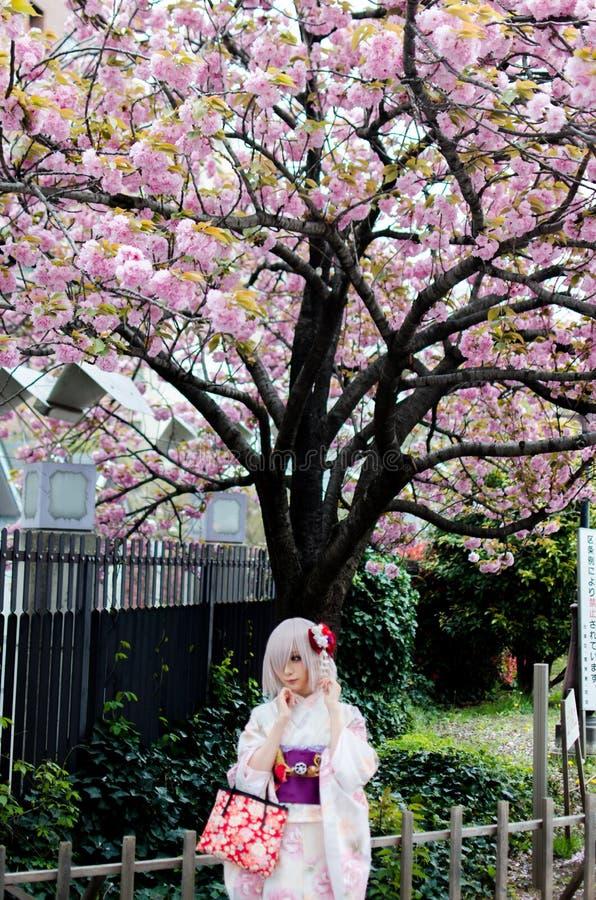 Belle fille japonaise utilisant le kimono coloré photographie stock libre de droits