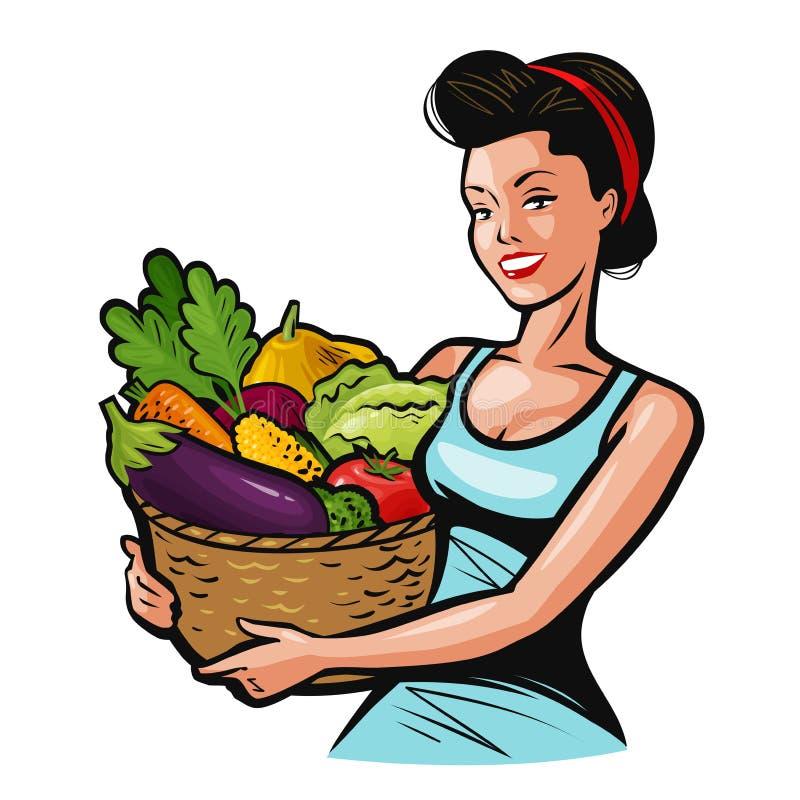Belle fille jugeant un panier plein des légumes Nourriture fraîche, consommation saine, concept de ferme Illustration de vecteur  illustration stock