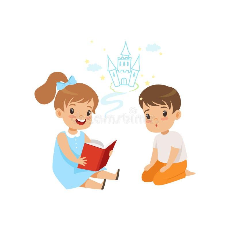 Belle fille lisant le livre féerique d'imagination de queue à peu de garçon, illustration fabuleuse de vecteur d'imagination d'en illustration de vecteur