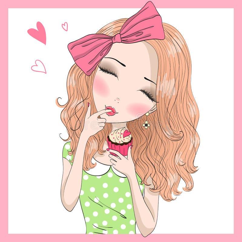 Belle fille mignonne tirée par la main avec l'arc sur ses cheveux mangeant des petits gâteaux illustration de vecteur