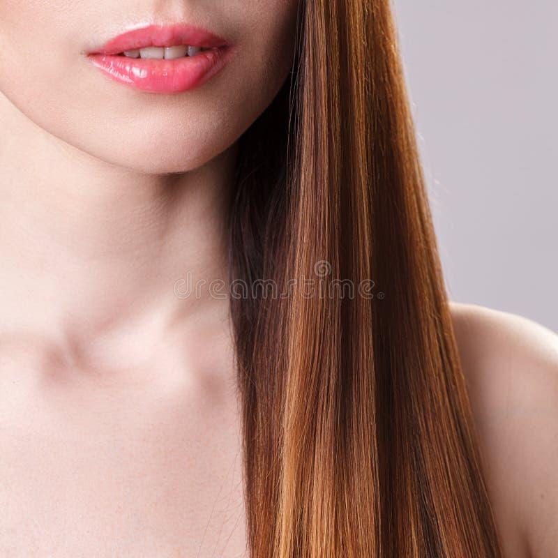 Belle fille modèle avec de longs cheveux droits bruns brillants Soin et produits capillaires image stock