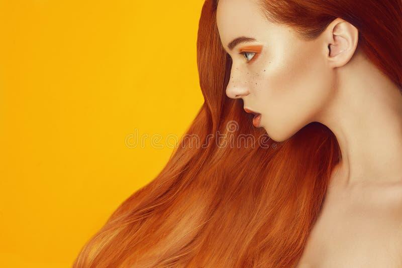 Belle fille modèle avec longs les cheveux rouges et droits brillants Redressage de k?ratine Traitement, soin et proc?dures de sta images libres de droits