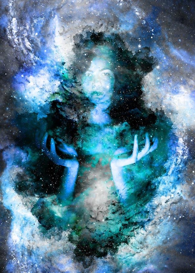 Belle fille mystérieuse à l'espace cosmique et à l'arrière-plan doucement brouillé d'aquarelle illustration stock