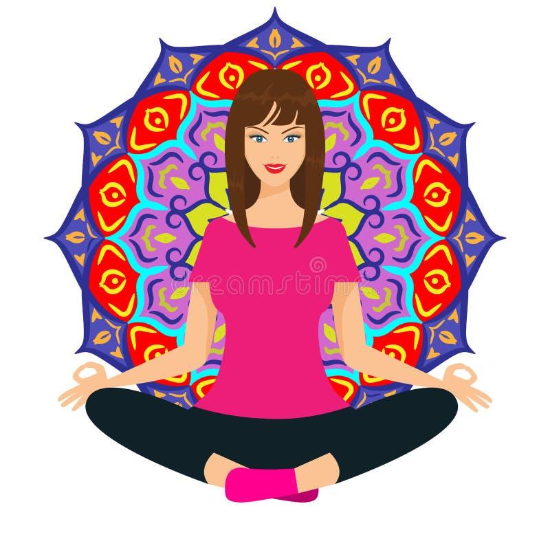 Belle fille ou femme faisant le yoga avec le motif de mandala de lotus Illustration plate de vecteur de couleur illustration de vecteur