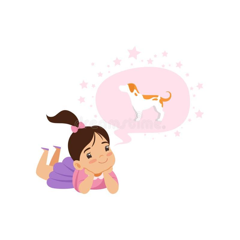 Belle fille rêvant d'un chien, d'une imagination d'enfants et d'un concept d'imagination, illustration de vecteur sur un fond bla illustration libre de droits