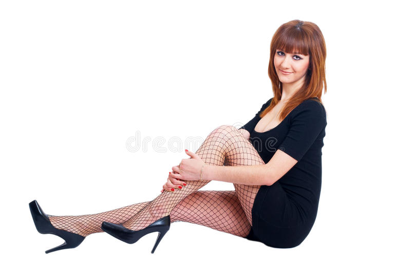 Belle fille red-haired avec des programmes photos libres de droits
