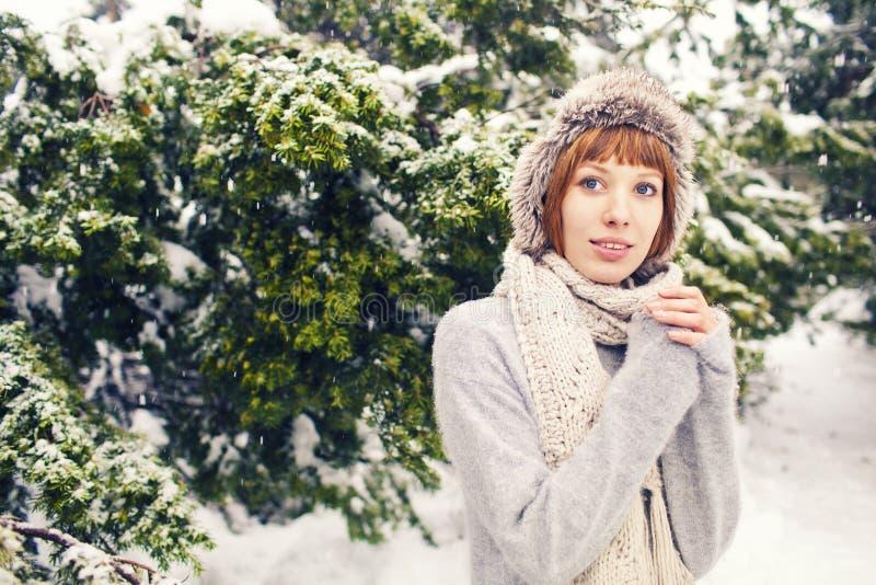 Fille en parc d'hiver photographie stock libre de droits