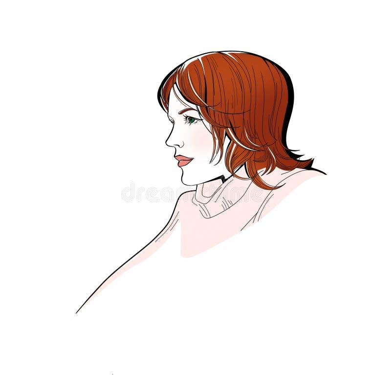 Belle fille rousse avec les yeux verts dans le profil Illustration de Digital D'isolement sur le fond blanc illustration libre de droits