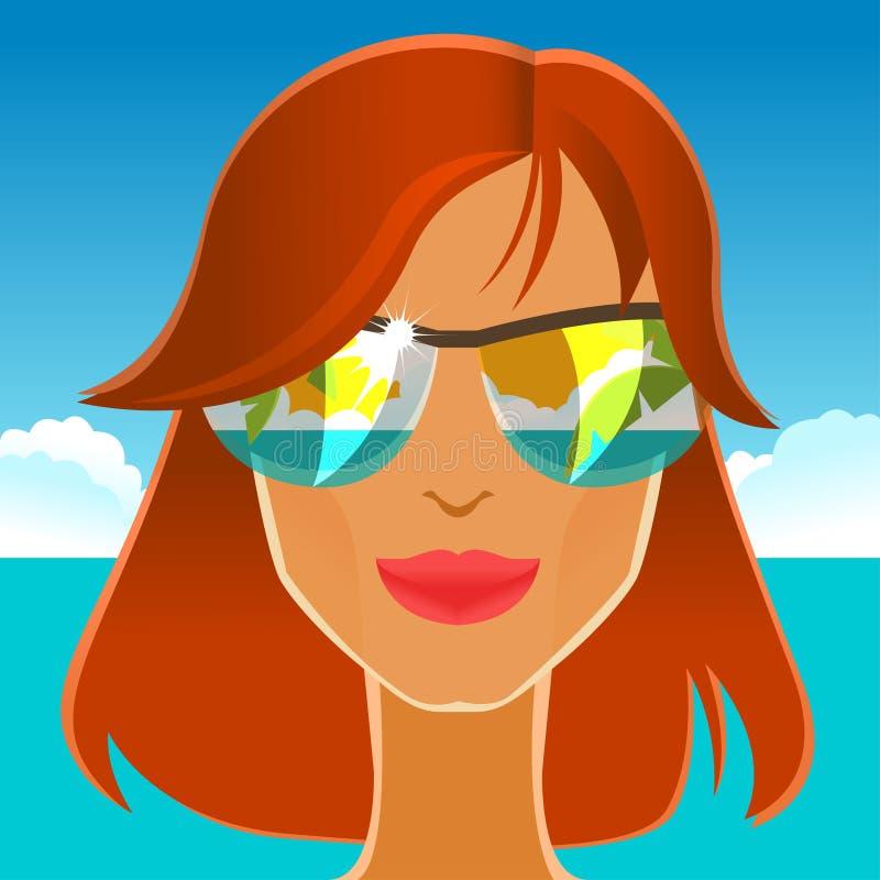 Belle fille rousse dans des lunettes de soleil sur la plage illustration libre de droits