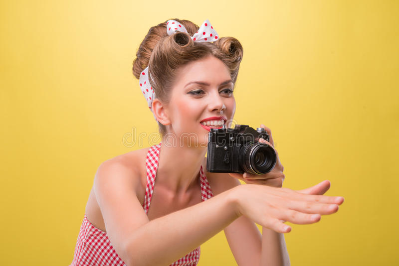 Belle fille sexy avec le joli port de sourire photo libre de droits