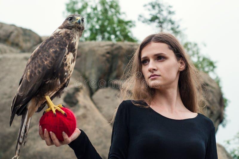 Belle fille tenant un faucon dans des ses bras images stock