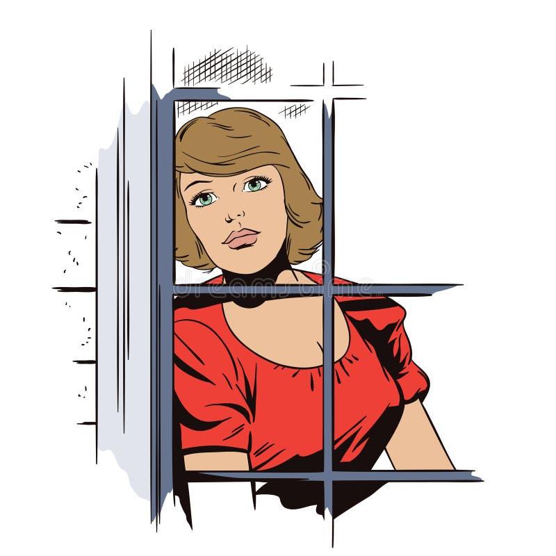 Belle fille triste dans la fenêtre Les gens dans le rétro style illustration stock