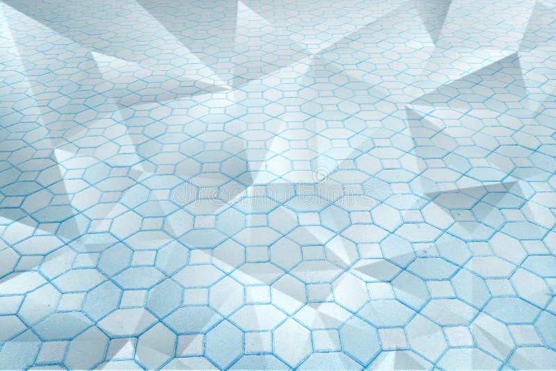 Belle fin abstraite vers le haut du plancher de tuiles blanc et bleu de couleur et du fond et du papier peint de papier de modèle photo libre de droits