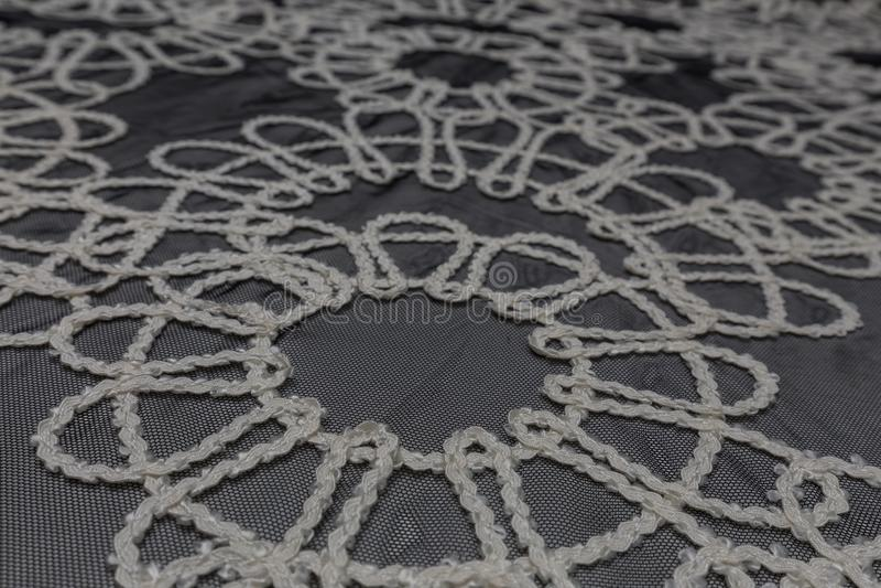 Belle fin de tissu de dentelle avec le fond de texture de textile image libre de droits