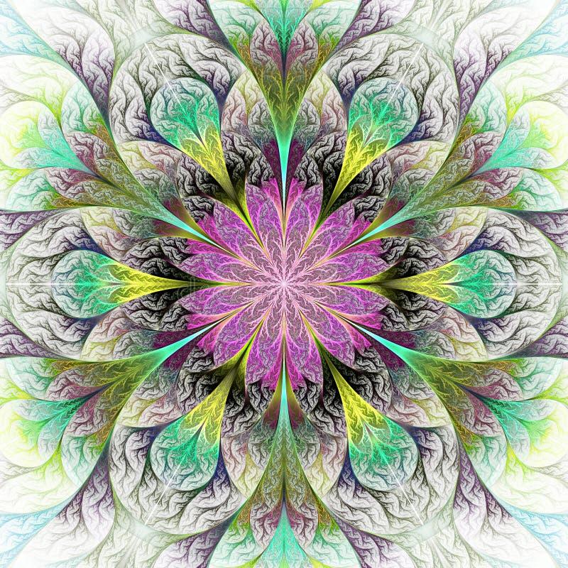 Belle fleur de fractale dans gris, le pourpre et le vert GEN d'ordinateur illustration stock