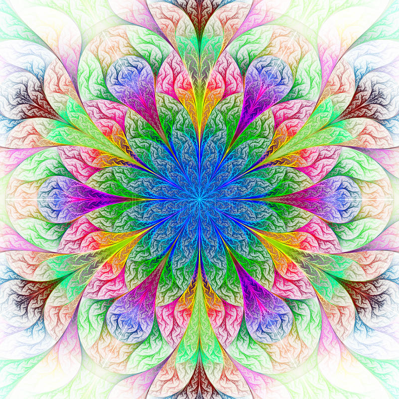 Belle fleur de fractale en le bleu, le vert et le rouge. illustration de vecteur