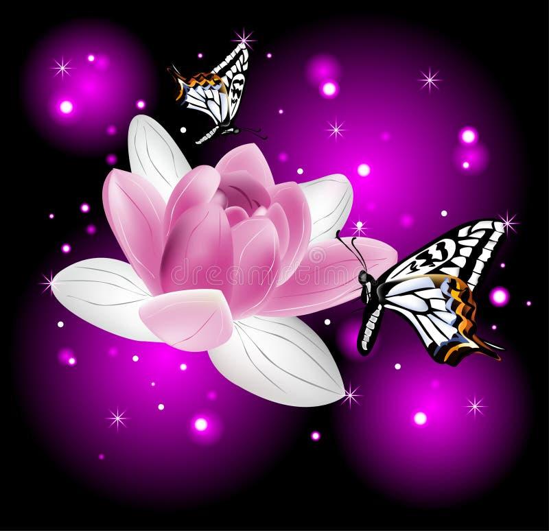 Belle fleur de lotus avec des papillons illustration libre de droits