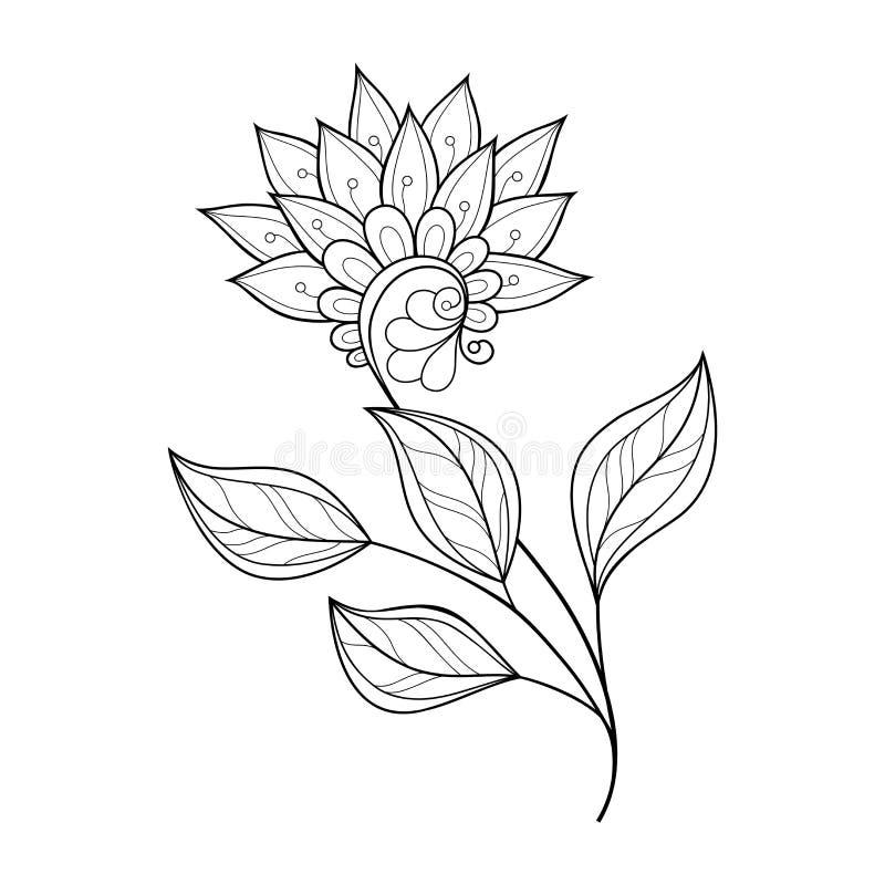 Belle fleur monochrome de découpe de vecteur illustration libre de droits