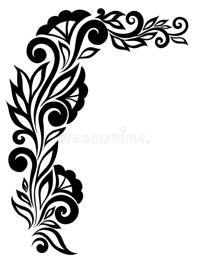 Belle fleur noire et blanche de dentelle dans le coin. Avec l'espace pour votre texte et salutations. illustration stock