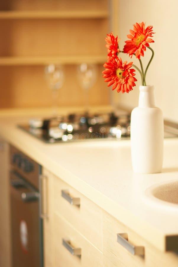 Belle fleur sur la table dans la cuisine moderne photographie stock libre de droits