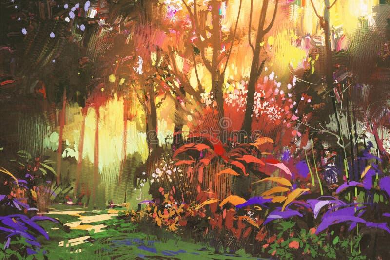 Belle forêt avec la lumière du soleil illustration stock