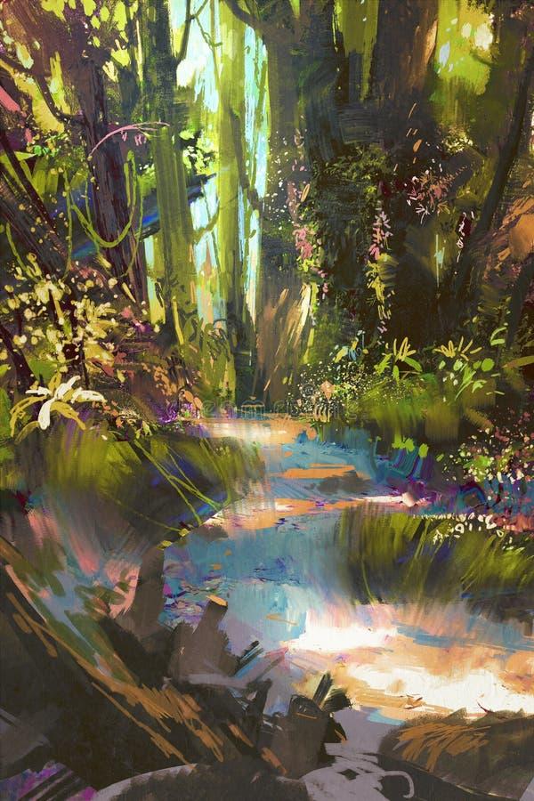 Belle forêt verte en été illustration stock
