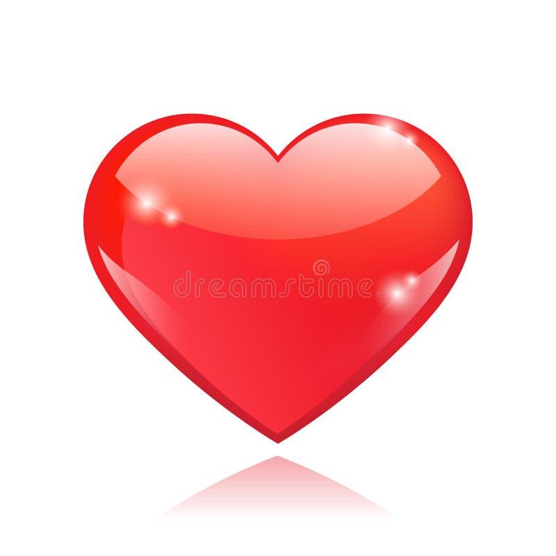 Belle forme brillante rouge de coeur illustration de vecteur
