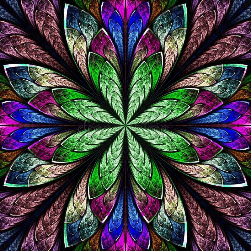 Belle fractale multicolore dans le style de fenêtre en verre teinté élém. illustration stock