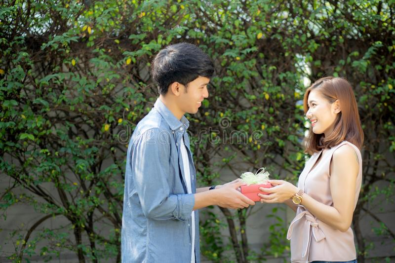 Belle giovani coppie asiatiche felici e che sorridono dando il contenitore di regalo insieme a romantico nel giorno di S. Valenti fotografie stock libere da diritti