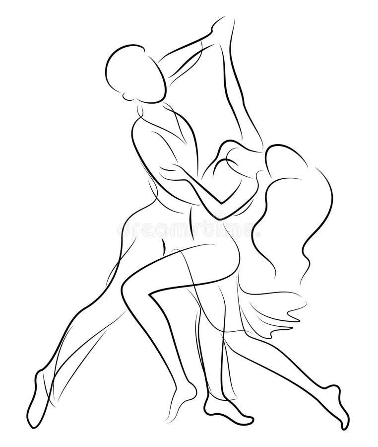 Belle giovani coppie La ragazza ed il tipo stanno ballando creativo ha reso sofisticato la giovane donna alla moda in vestito bia royalty illustrazione gratis