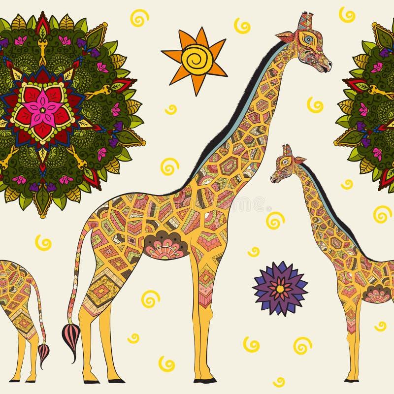 Belle girafe adulte Illustration tirée par la main de girafe ornementale Giraffe sur le fond blanc seamless illustration de vecteur