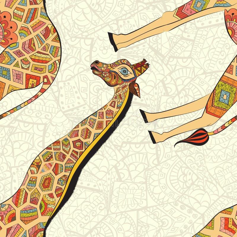 Belle girafe adulte Illustration tirée par la main de girafe ornementale Giraffe sur le fond blanc seamless illustration libre de droits