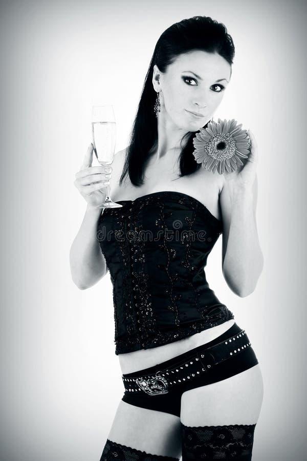 belle glace de champagne de brunette images stock