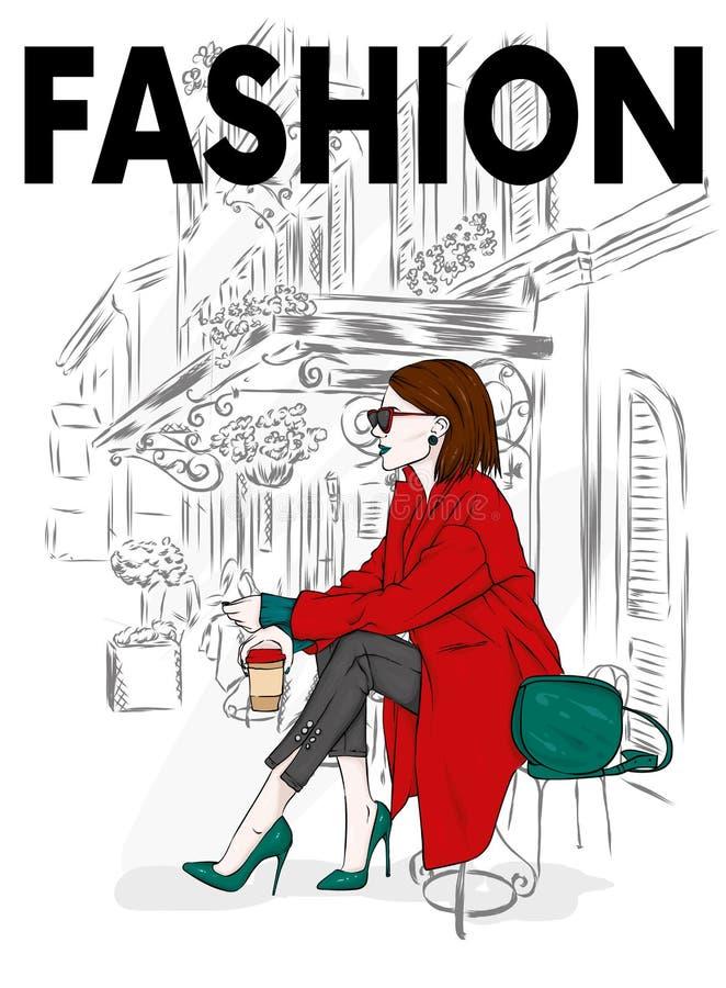 Belle, grande et mince fille dans un manteau élégant, pantalons, verres, avec des verres Femme élégante dans des chaussures à tal illustration libre de droits