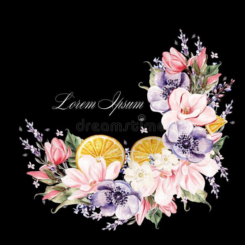 Belle guirlande d'aquarelle avec les fleurs de lavande, l'anémone, la magnolia et les fruits oranges illustration libre de droits