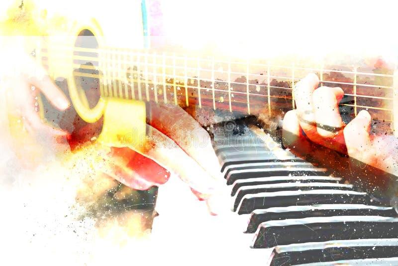 Belle guitare acoustique de jeu de résumé dans le premier plan sur la peinture d'aquarelle illustration libre de droits