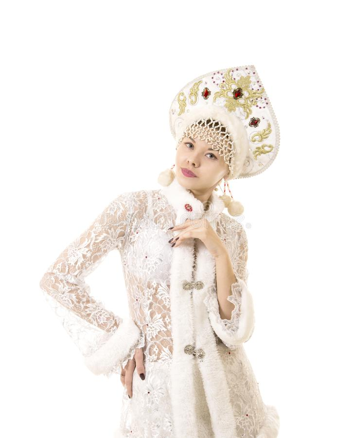 Belle, heureuse, émotive jeune femme habillée comme le sourire de Santa Claus Noël-nouveau carnaval d'année photo libre de droits