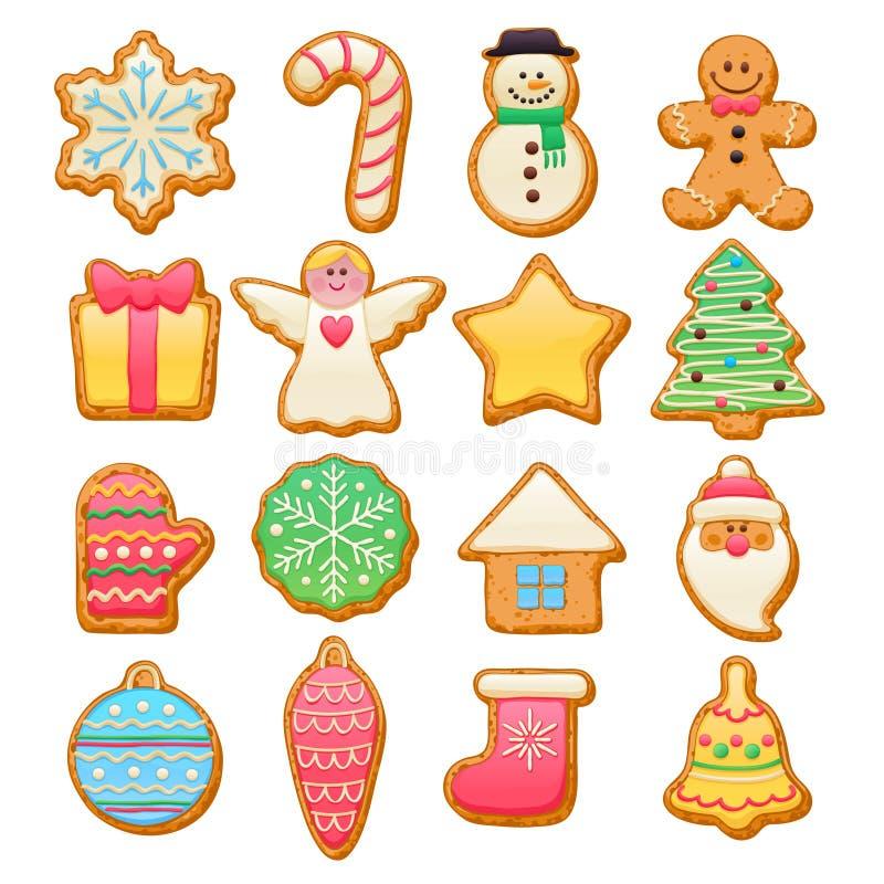 Belle icone variopinte dei biscotti di Natale messe illustrazione di stock