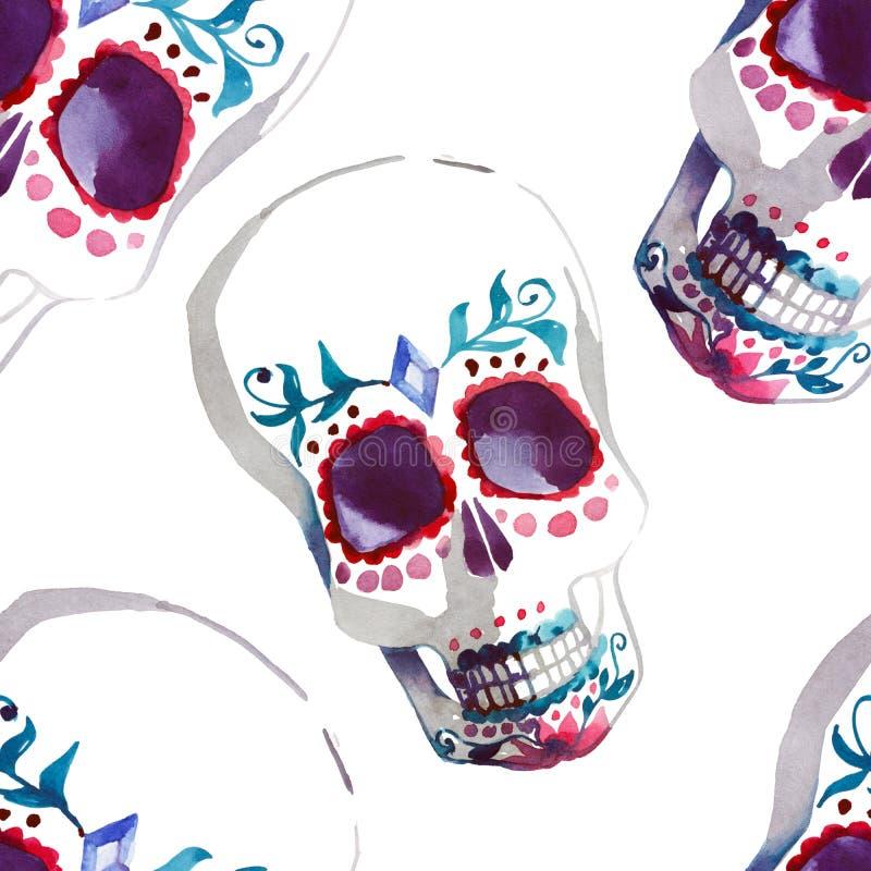 Belle illustration élégante mignonne abstraite artistique graphique merveilleuse lumineuse de main d'aquarelle de crânes de Hallo illustration de vecteur